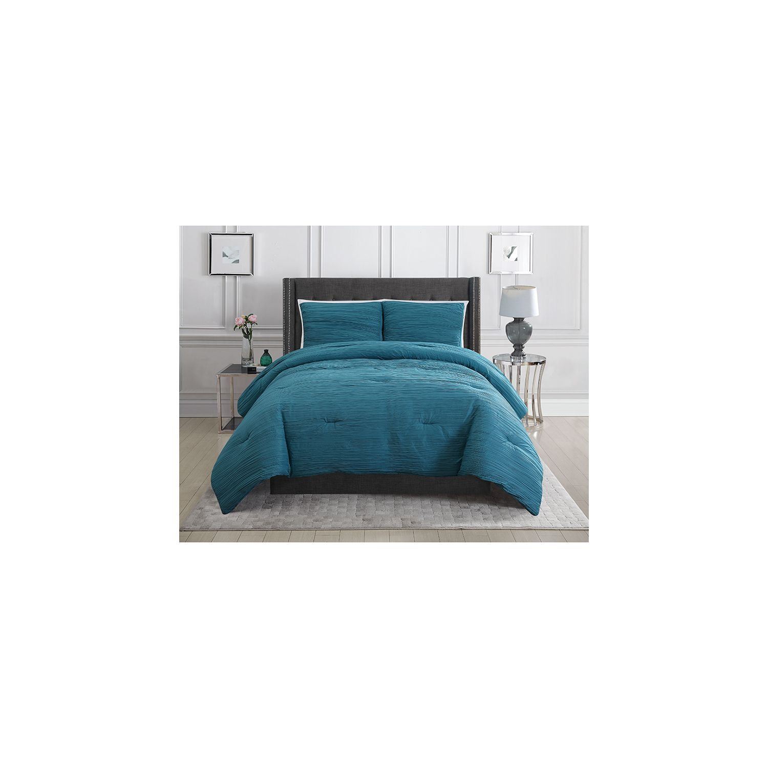 Christian Siriano Reversible Crinkle Comforter Set, Queen, Teal