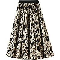 COVPAW Women's Skirt Pleated Midi Length Deisgn Tulle Leopard Pattern Prom Party Beach Wedding Holiday Dailywear