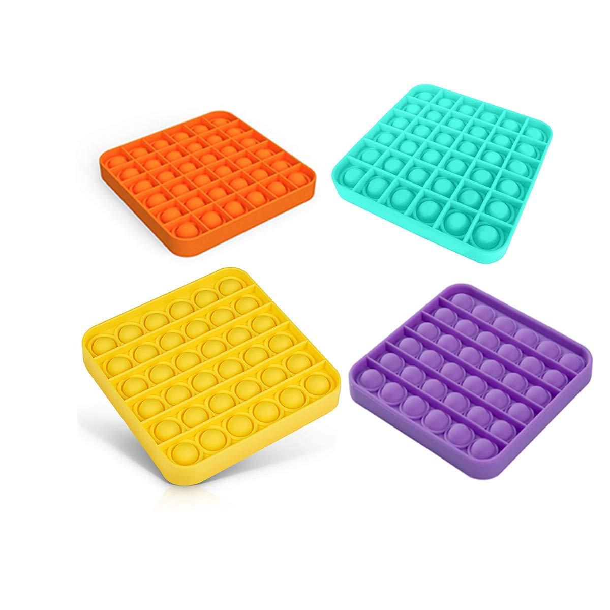 Xihe Fashion Pop Push it Fidget Toy pop Bubble Fidget Sensory Toys Stress Relief and Anti-Anxiety Tools for Kids Girls boys-Square-4PCS-