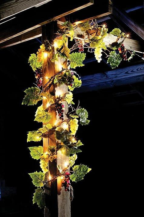 Amazon lighted grape leaf garland garden outdoor lighted grape leaf garland mozeypictures Images