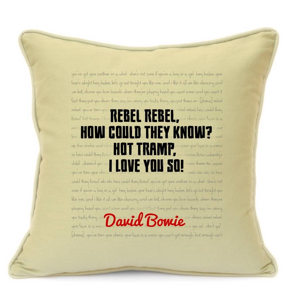 David Bowie Song Lyrics Quotes Cotton Cushion Cover for Sofa 18 inch ...