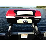 Cuisinart Grill Red Modified for Pontoon Boat with Arnall's Stainless Universal Grill Bracket Set - Great for Closed…