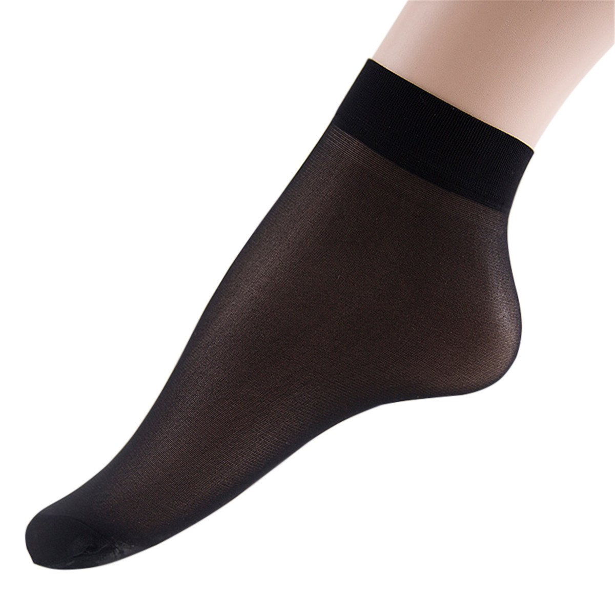 ECYC 10Pairs Women Silk Socks Ultra Thin Velvet Short Socks Ankle Hosiery, Black