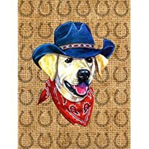 Labrador Yellow Dog Country Lucky Horseshoe Flag Canvas House Size