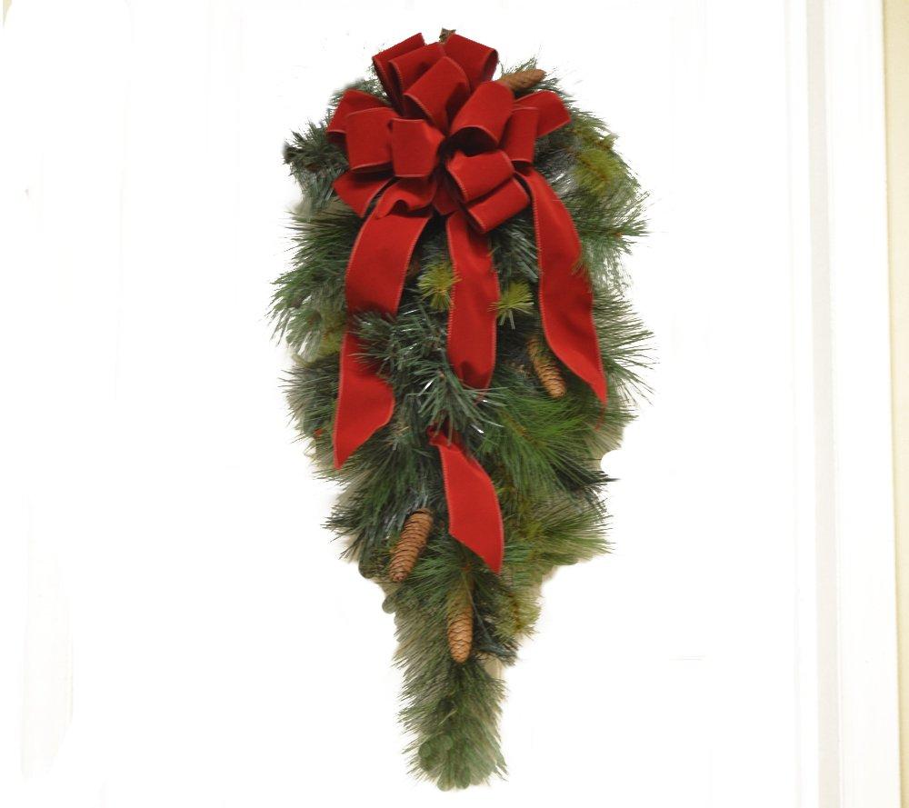 Pine Christmas Door Swag with Red Velvet Ribbon CR4871
