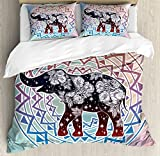 Elephant Mandala Duvet Cover Set by Ambesonne, Rainbow Colored India Sacred Animal Spirit with Flower Leaves Art Print, 3 Piece Bedding Set with Pillow Shams, King Size, Multicolor