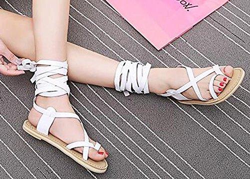 Easemax Femmes Unique Plat String Auto-cravate Longues Sandales Gladiateur Blanc