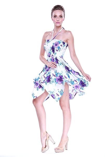Vestido gitano Vestido hawaiano Vestido Luau Vestido de hada en Blanco con el panel púrpura floral
