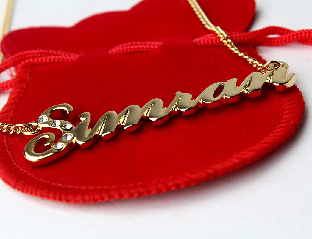 52575779661f6 Indian Simran Name Necklace With 18 K White Gold Plated Chain with ...