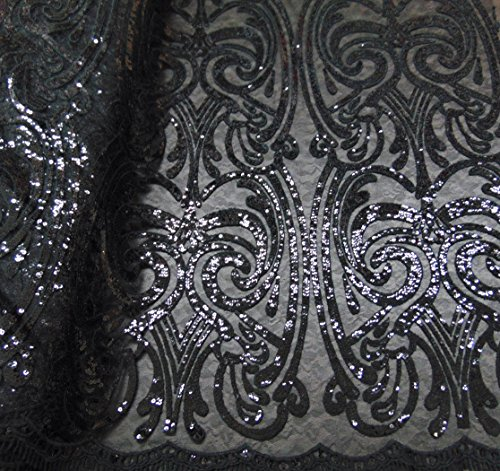 Ballroom Dress Fabric - ART NOUVEAU Damask BLACK Sequin Mesh Polyester Lace Large Print Fancy Elegant Apparel Wedding Prom Veil Fabric By the Yard 52