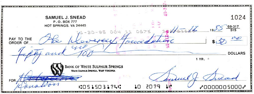 Sam Snead Signed Auto 3x8.5 Check #1024 Certified Authentic