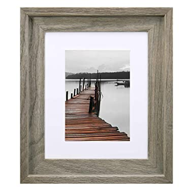EosGlac Rustic 8x10 Picture Frame, Mat for Pictures 5x7 included, Solid Wood with Glass Front, Wall Mounting or Tabletop, 100% Premium Handmade, Weathered Grey