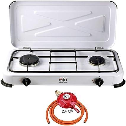 nj-02 portátil cocina de gas estufa quemador de 2 Esmalte tapa Camping al aire libre + butano propano regulador Set