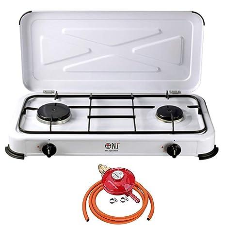 nj-02 portátil cocina de gas estufa quemador de 2 Esmalte tapa Camping al aire