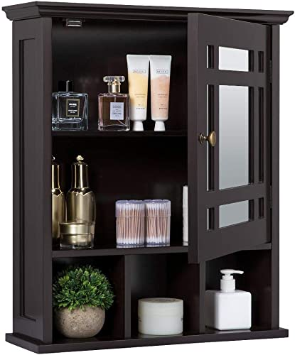 Yaheetech Mirrored Bathroom Wall Storage Cabinet with Adjustable Shelf, Wooden Medicine Cabinet