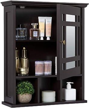 Yaheetech Mirrored Bathroom Wall Storage Cabinet With Adjustable Shelf Wooden Medicine Cabinet