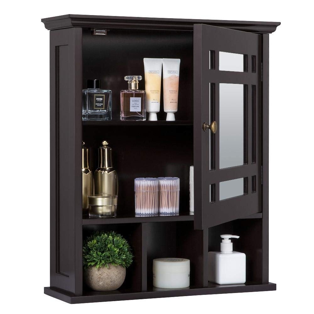 Yaheetech Mirrored Bathroom Wall Storage Cabinet with Adjustable Shelf, Wooden Medicine Cabinet by Yaheetech