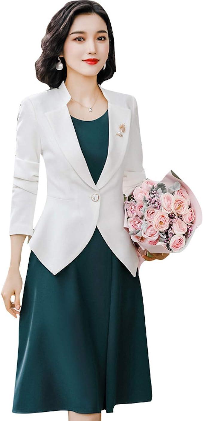 Elonglin Damen Elegant Kleid & Blazer Kombinationen Blazer Sakko
