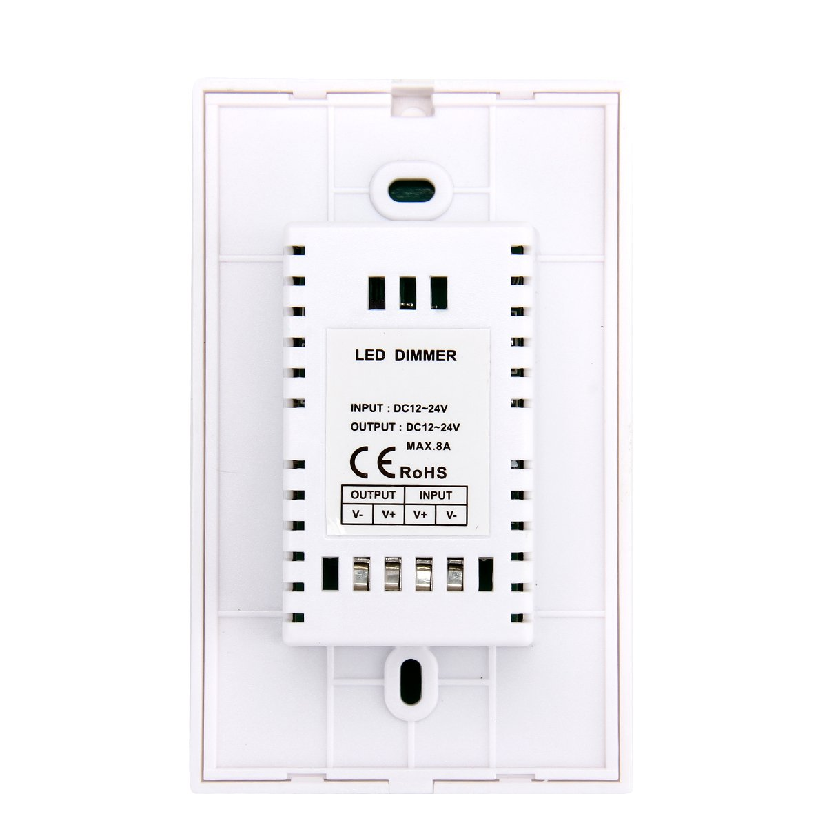 Wall-Mounted Glass Touch Panel LED Dimmer Switch Brightness Controller DC 12-24V for Single Color LED Strip Light Lamp-White
