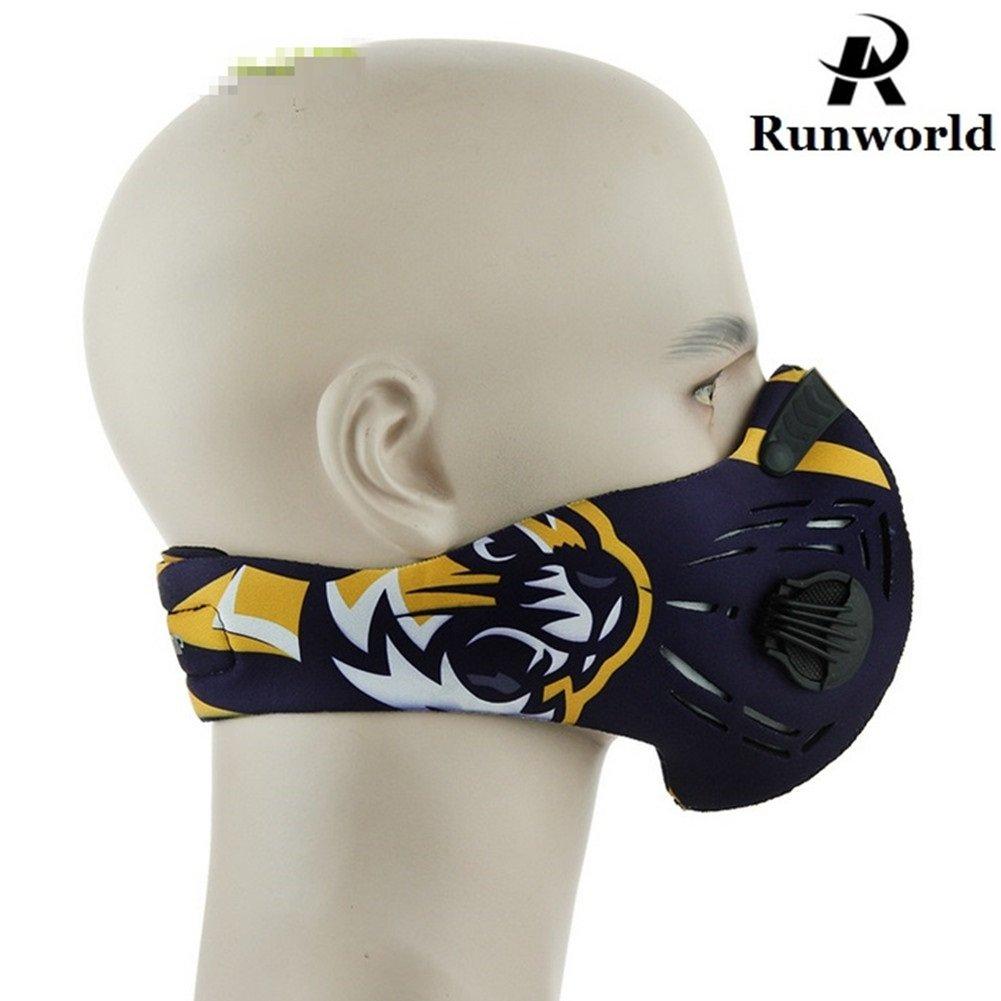 runworld防塵マスク活性炭ほこりマスクExtraフィルタコットンシート、排気ガス、花粉アレルギー、pm2.5、ランニング、サイクリング、アウトドア活動用バルブ B07D9LZSC4  イエロータイガー