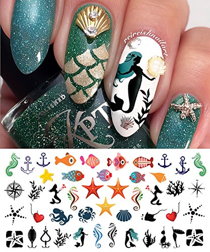 (Nautical Nail Art Waterslide Decals Set #2 - Fishing Lures, Mermaids and More! - Salon Quality!!)