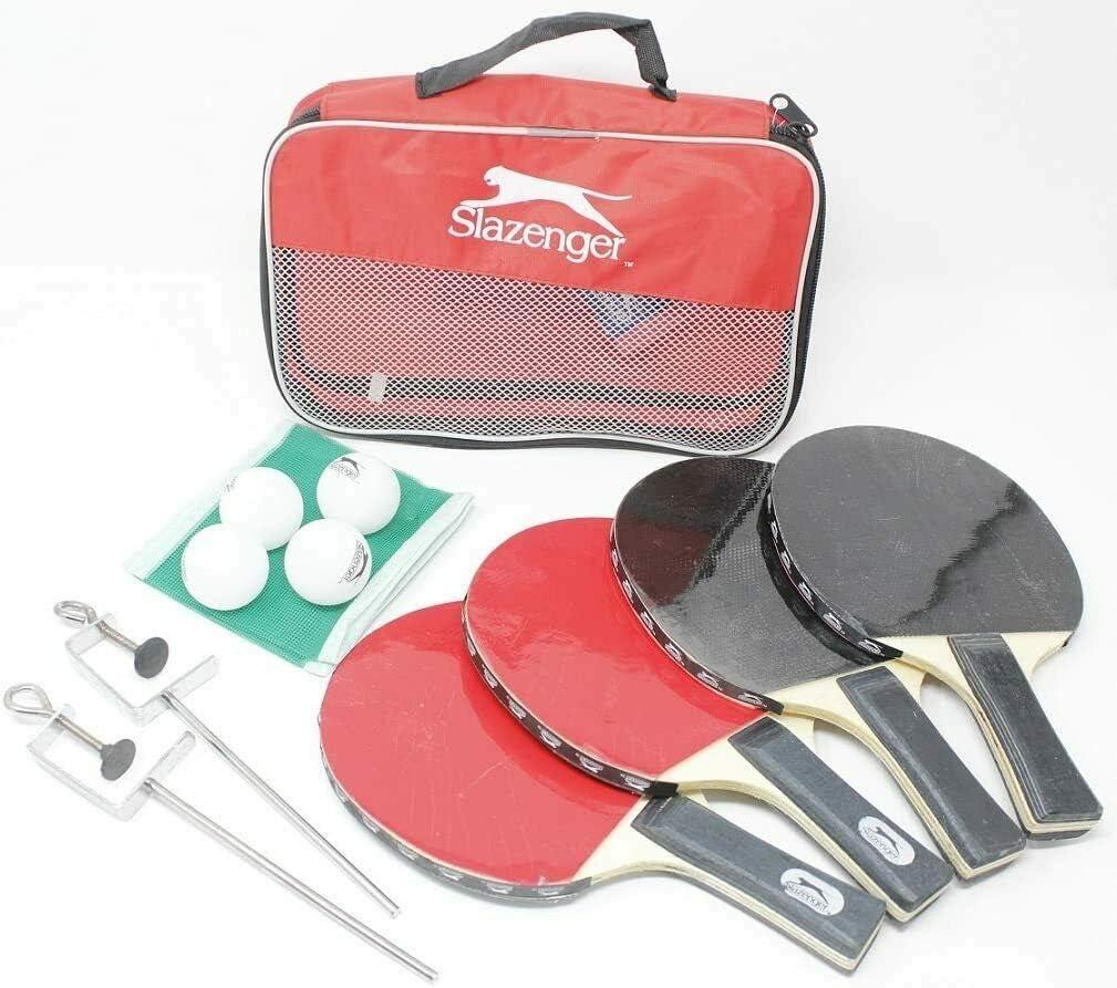 Juego de raquetas de tenis de mesa para 4 jugadores, juego completo de 4 bates de pádel, 4 pelotas de ping pong y 4 bolas, abrazaderas de red y postes con funda para raqueta