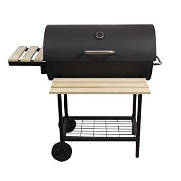 Cclife Charcoal Grill Barbecue Transportable With 2 Wheels 2 Side