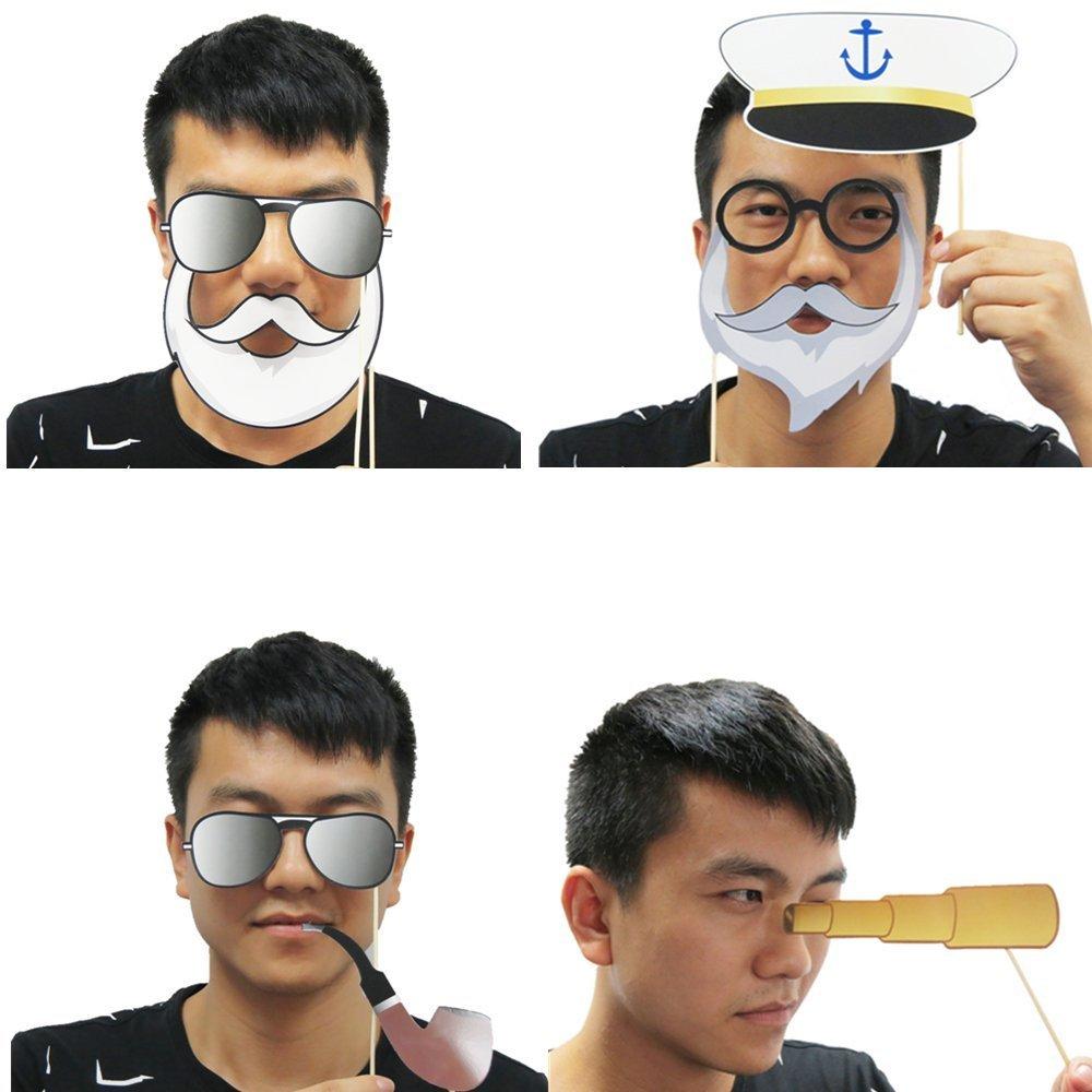 BizoeRade no necesitan DIY 20PCS Photo Booth Boda,Kit nupcial de la boda de la cabina de la foto del marinero del ancla de la marina de guerra de los apoyos de la cabina de la foto en palillos Los favores de partido del ancla