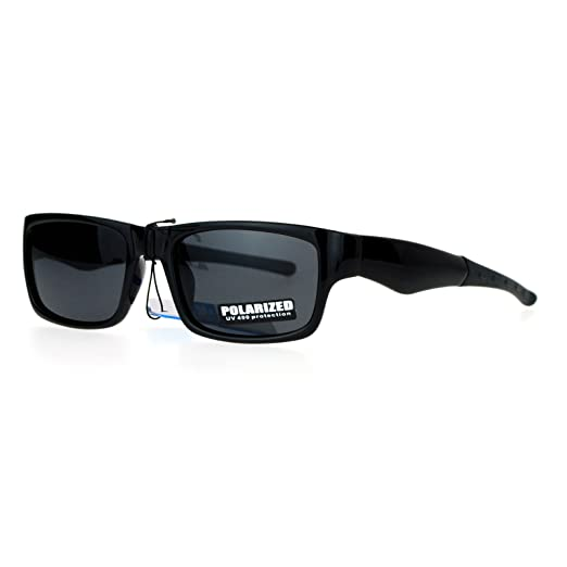 b9b4d03988 SA106 Biker Mens Antiglare Polarized Rectangular Sport Plastic Sunglasses  All Black