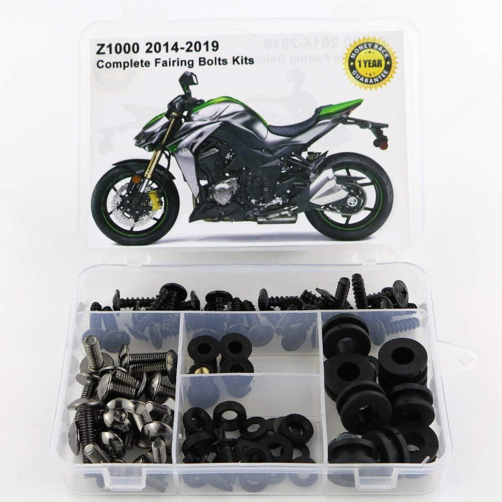 Matte Black Xitomer Full Sets Fairing Bolts Kits Mounting Kits Washers//Nuts//Fastenings//Clips//Grommets for Kawasaki Z1000 2014 2015 2016 2017 2018 2019