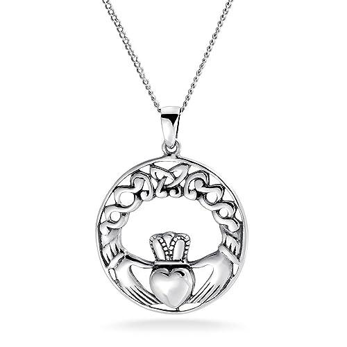 63ba096f5b53 Nudo celta Claddagh Colgante Collar de plata esterlina de 18 pulgadas   Amazon.es  Joyería