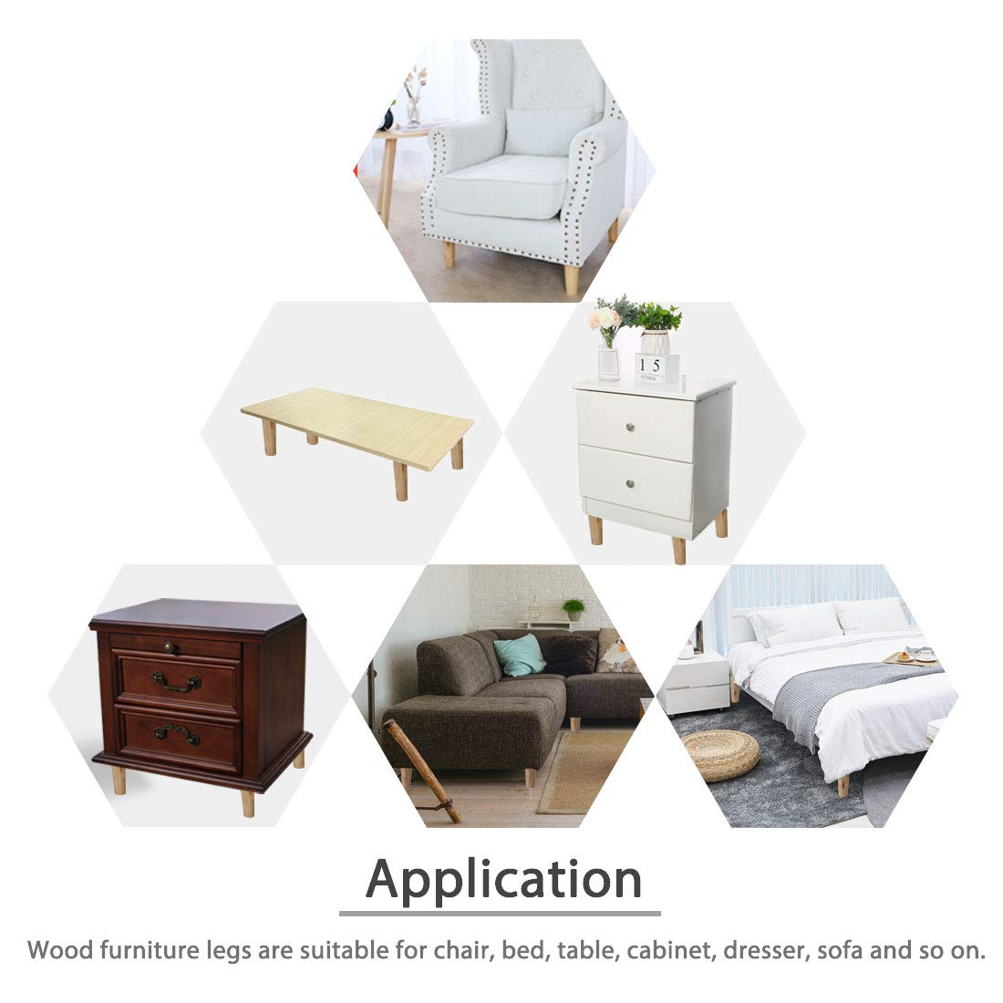 "4 Furniture Legs Feet 1-1//2/"" Hard Plastic Sofa Couch Ottoman Chair Cabinet BLACK"