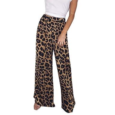8375a08d7c Amazon.com: JOFOW Womens Pants Wide Leg Leopard Snakeskin Print ...