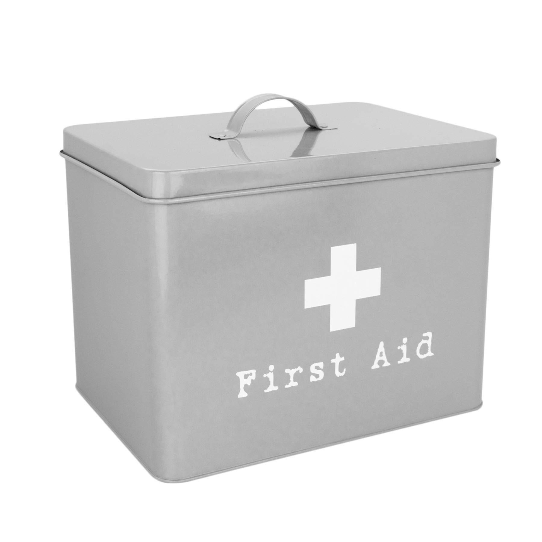 Harbour Housewares First Aid Medicine Storage Box in Vintage Metal - Grey by Harbour Housewares