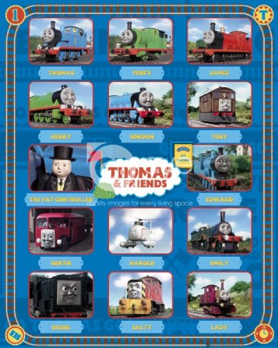 Thomas The Tank Engine And Friends Characters Cast Regular Childrens Cartoon Poster 40x50cm