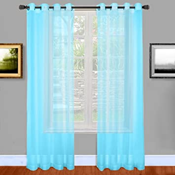 Amazon.com: Warm Home Designs Baby Blue Sheer Window Curtains with ...