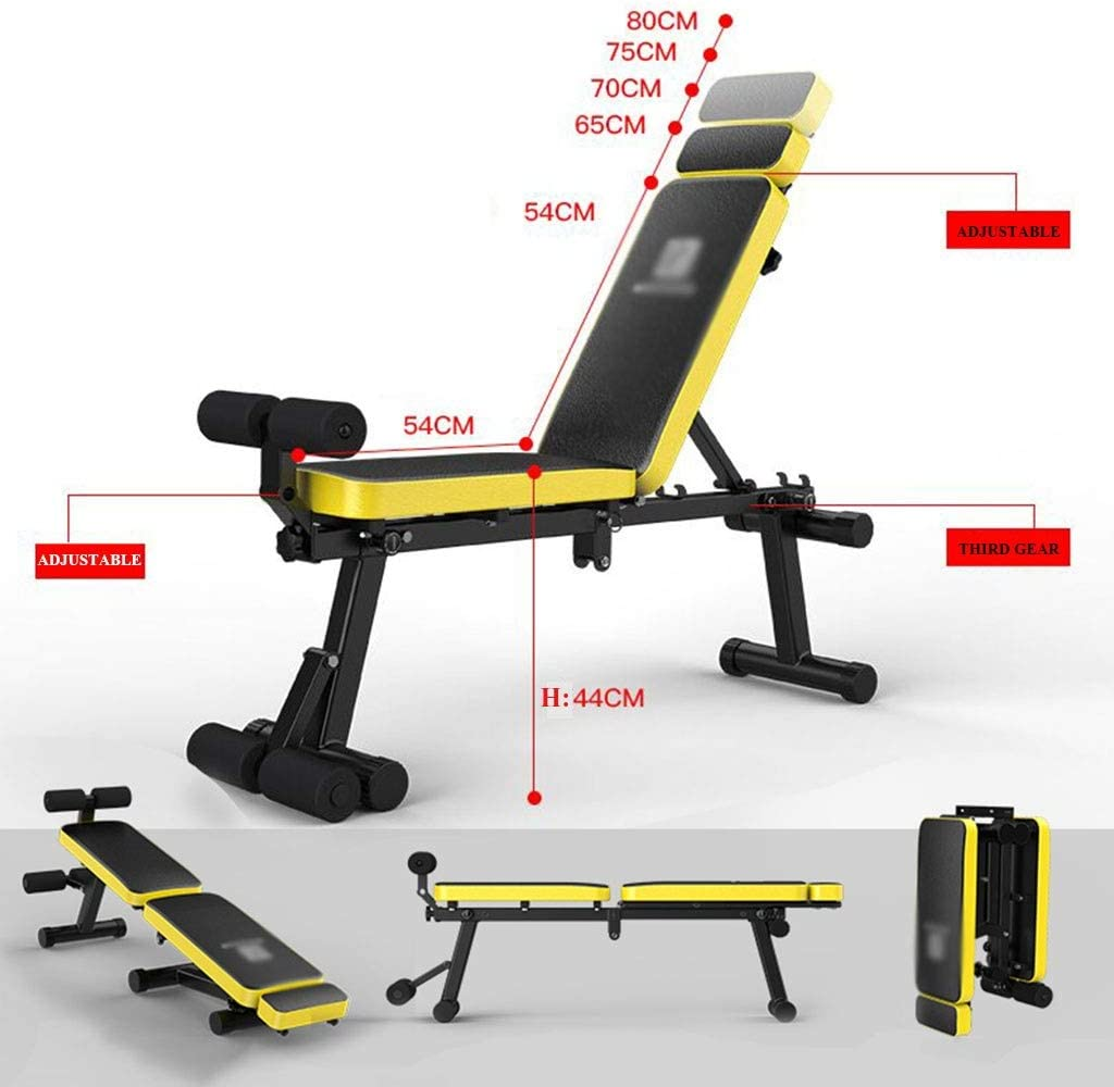 Foldable Weight Bench Home Sit-ups Fitness Chair Multifunctional Bench Press Adjustable Angle
