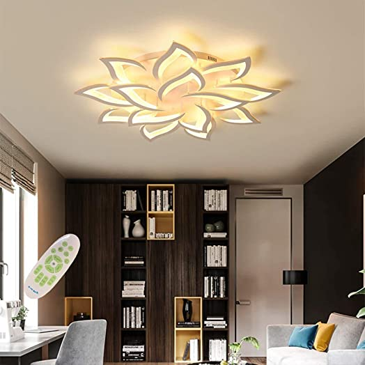 Modern LED Ceiling Light Metal Acrylic Chandelier with Remote Control Dimmable Flush Mount Ceiling Lamp for Living Room Kitchen Hanging Lamp Child Bedroom Painted Pendant Lighting White,14 heads,39.3