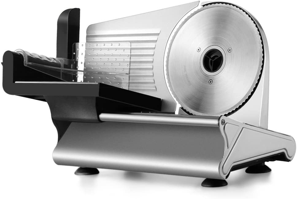 """Flexzion Electric Meat Slicer with 7.5"""" Stainless Steel Blade, Motorized Deli Slicer Cutter for Home Kitchen Meat, Salami, Ham, Cold Cuts, Hard Cheese"""