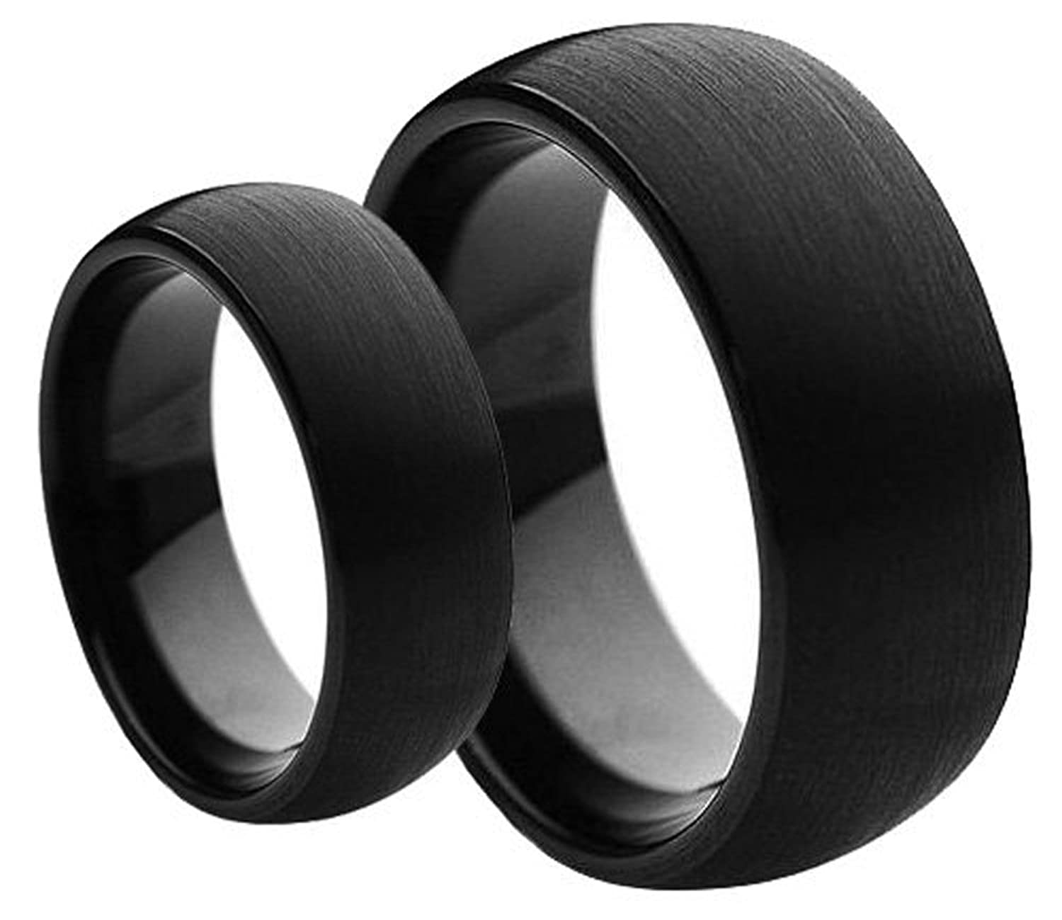 His & Her's 8MM/6MM Black Brushed Finish Domed Tungsten Carbide Wedding Band Ring Set