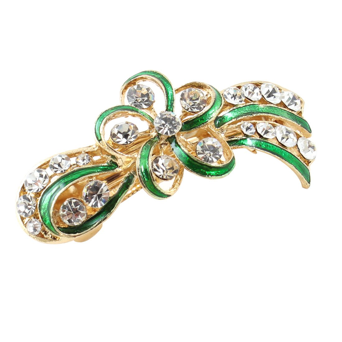 uxcell Lady Party Green Flower Design Rhinestone Barrette French Hair Clip a13060500ux0457