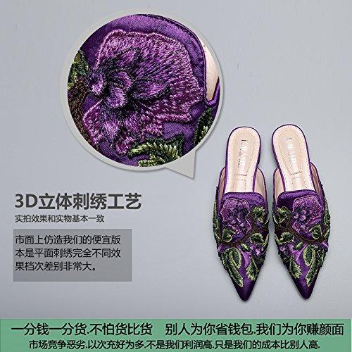 E Qingchunhuangtang Verde oro Pantofole Baotou All'Aperto Pigrizia Turrito Ricamati In satinato scuro Pantofole E Scarpe Scarpe Ricamate Cq8Cf
