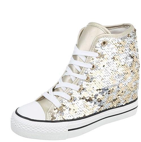 Blanco Store Sneakers Donna con Zeppa Scarpe Sportive in Tela con Rialzo Interno (40, Beige)