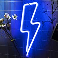 Lightning Bolt Neon Sign for Wall Decor,USB or Battery Decor LED Signs,Neon Lights for Bedroom,Light Up Signs Decorative…