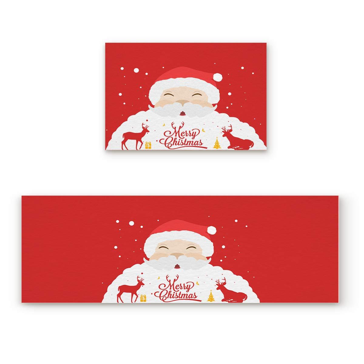 """Prime Leader 2 Piece Non-Slip Kitchen Mat Runner Rug Set Doormat Red White Santa Claus Deer Door Mats Rubber Backing Carpet Indoor Floor Mat (15.7"""" x 23.6""""+15.7"""" x 47.2"""")"""