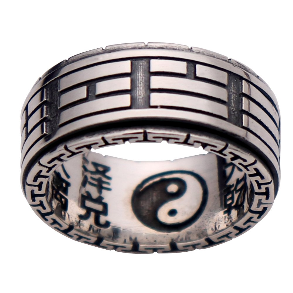 Bague Spinner Tai Chi Yin Yang en argent sterling 925 Tao?sme pour Hommes Femmes 10 mm FORFOX F00005