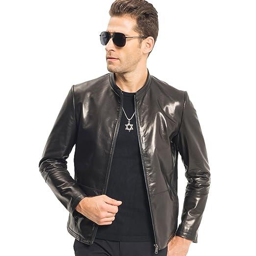c2c58d511d8c LINAILIN Men Leather Jacket Short Slim Sheepskin Coat Red Black Motorcycle  Outerwear (XS