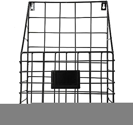 Simple fer Biblioth/èque Porte-revues fixation murale en m/étal Grille Rack /étag/ère de rangement organisateur de stockage de bureau noir