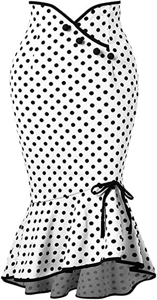 ShuangRun Falda Ajustada con Botones de Lunares para Mujer, Falda ...
