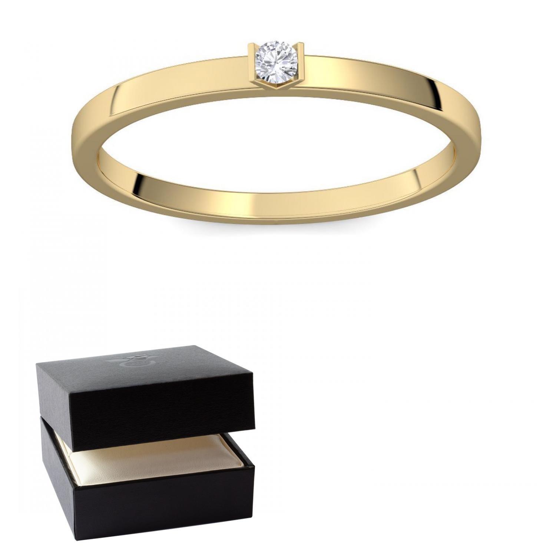 Schlichter goldring  Goldring Damen 585 Verlobungsringe Gold Diamant 0,05 Carat H/si ...